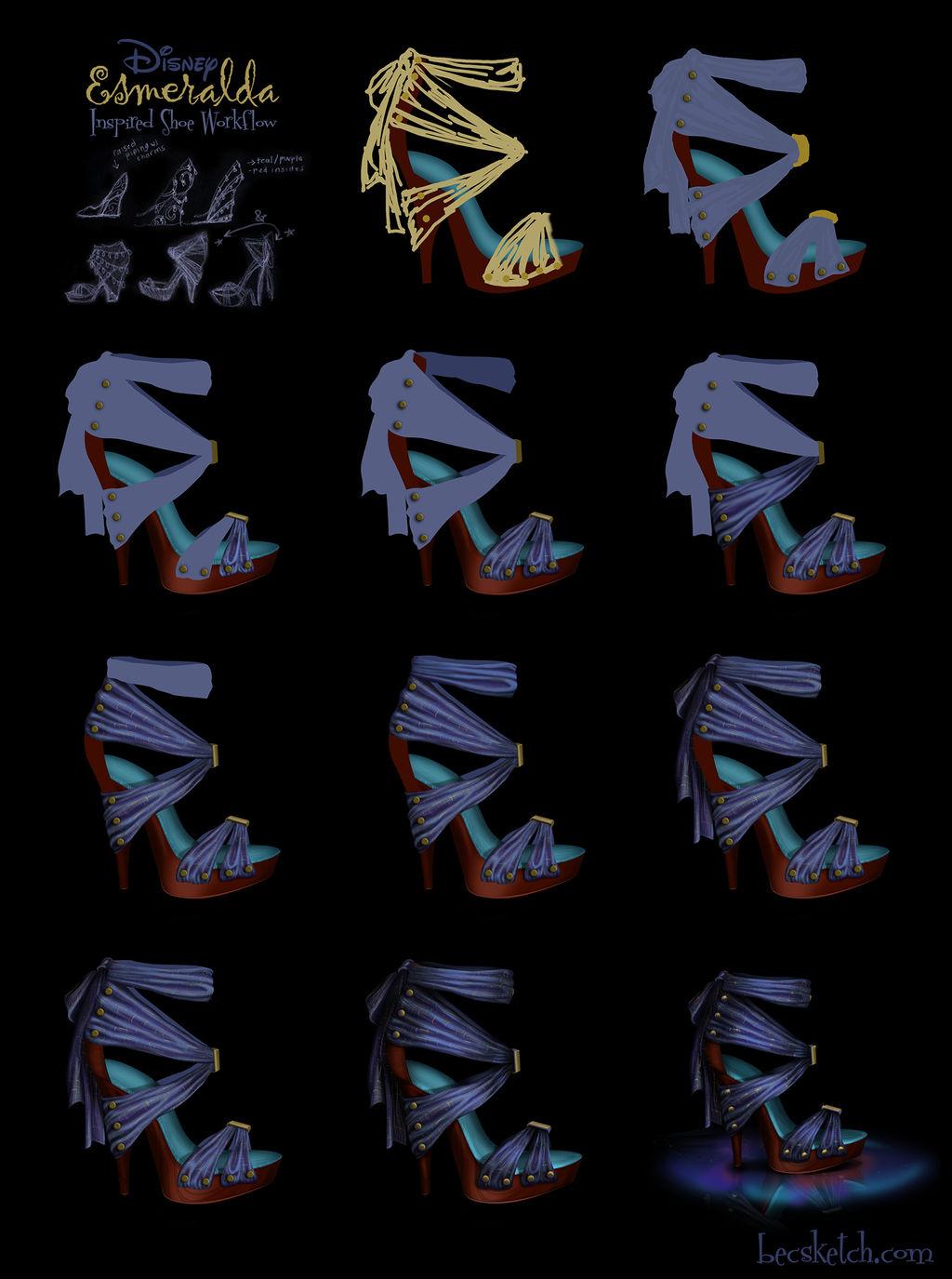 Esmeralda Inspired Shoe - Disney Sole Workflow by becsketch