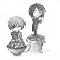 Sebastian + Ciel atop cupcakes by haiban
