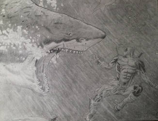 Deadpool Vs. the Shark by Krazywolf007