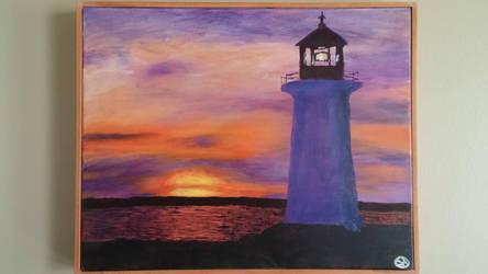 Sunset Lighthouse by Krazywolf007