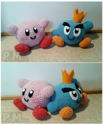 Crocheted Kirby and Prince Fluff plushies by Possumato