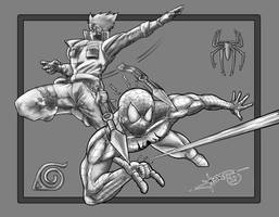 Kakashi Vs Spider-Man Gray by Lennardo