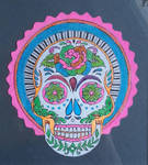 skull painted behind plexiglass by carlos-nikolaus