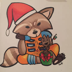 Christmas Rocket Raccoon and Groot by jammastergen
