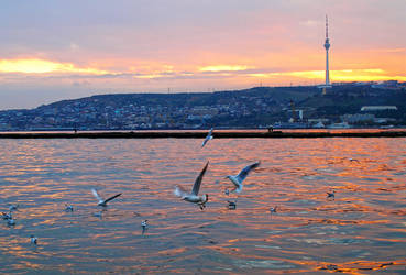 A Sunset over the Caspian Sea by tahirlazim