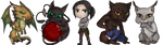Commission- chibi set for Poetic-Dragon by Lilith-the-5th