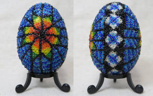 Rainbow Starburst Beaded Goose Egg side view by Natakuaya