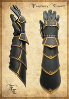 Leather bracers with hand protection by Fantasy-Craft