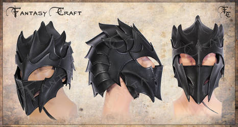 Dragon, drow, druchii, dark elf leather helmet by Fantasy-Craft