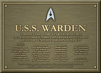 Dedication Plaque - U.S.S. Warden by Kant-Lavar