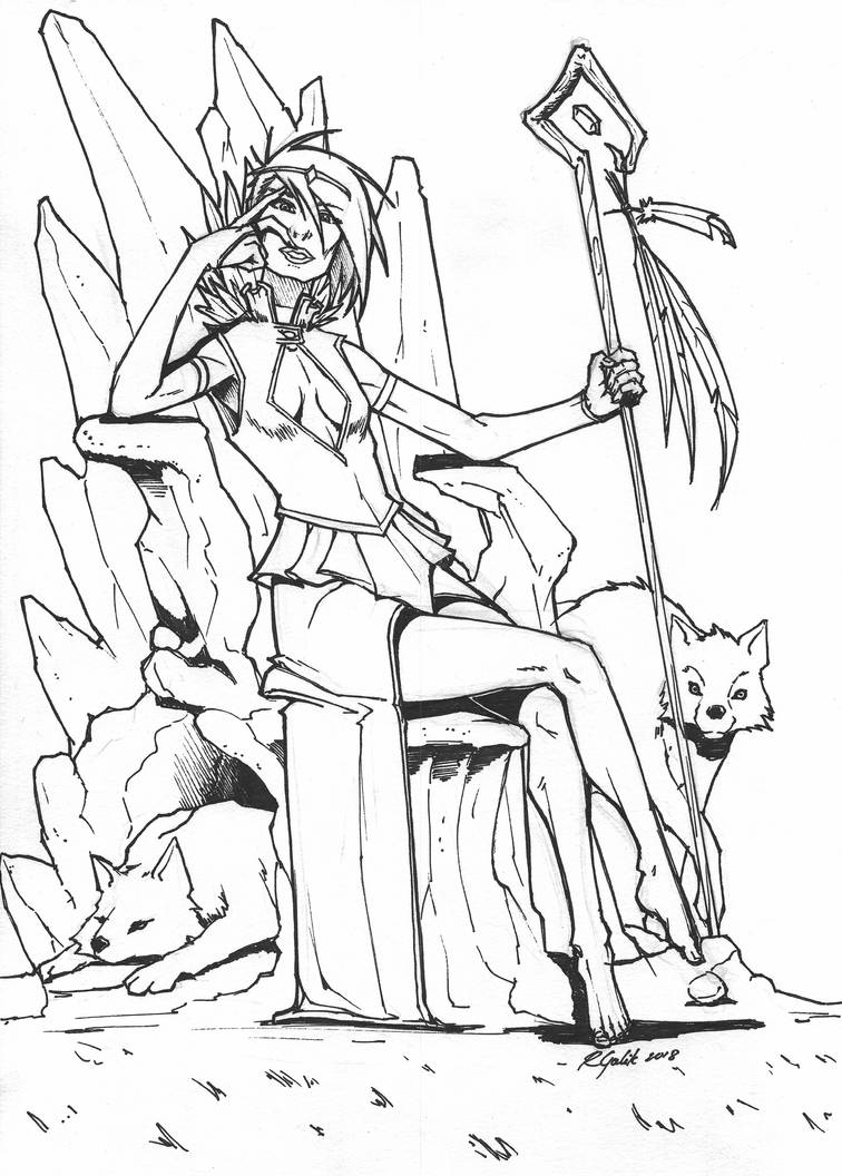 Wolf Queen Lineart by henryxpl