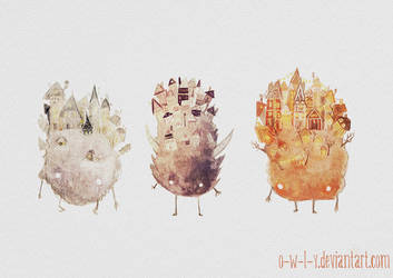 Fuzzy town monsters by viowl