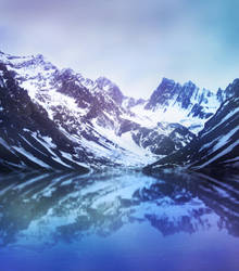Premade background snowy mountains by KalosysArt