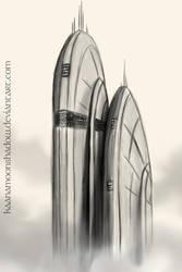 Taris Skyscraper 1st Concept by KaanaMoonshadow