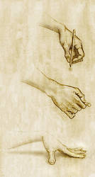 three hands on old paper by sethness