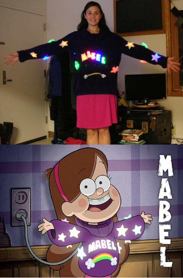 Gravity Falls Mabel Halloween Costume with Lights by RedCrosseKnight