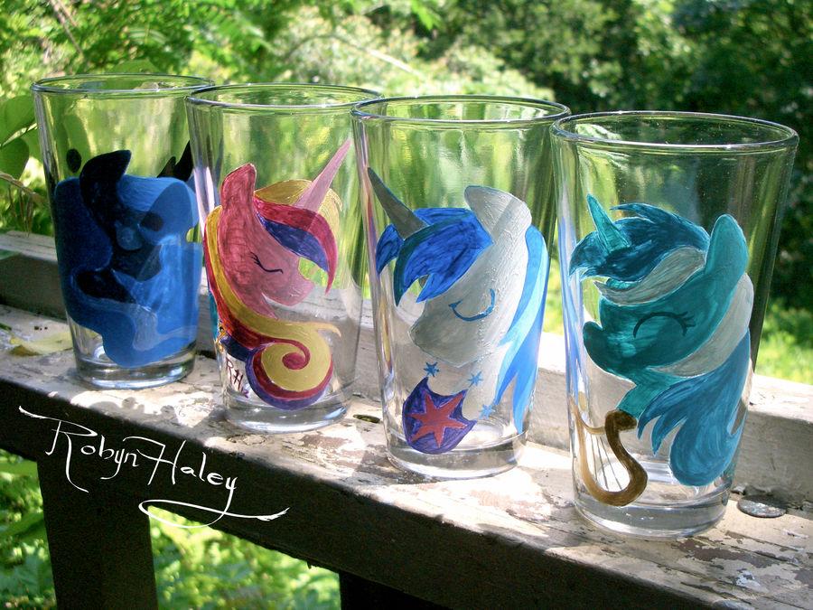 Custom Pony glass order by AstroRobyn