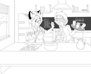 Sweets For My Sweetie Lineart by ZamieCat