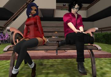 Sitting on a bench by ZamieCat