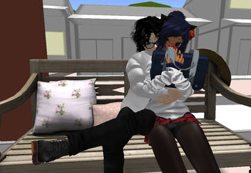 Sitting On A Bench with cuddles by ZamieCat