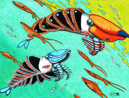 Hurdia victoria and Stanleycaris hirpex by NocturnalSea