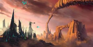 Cityscape 7 - High Outpost by highdarktemplar