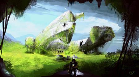 Derelict ship 2 by highdarktemplar