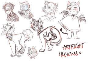 Artfight Sketches by TheWildWolfy