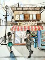 Inktober 2016 Coffee Shop by ajcrwl