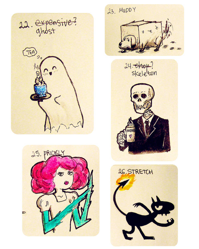 Misc tiny drawings - Inktober2018, 22-26 by ajcrwl