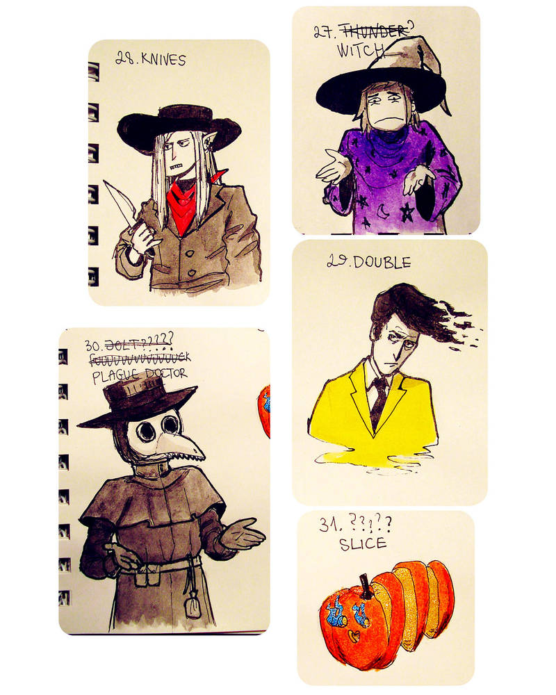 Misc tiny drawings - Inktober2018, 27-31 by ajcrwl