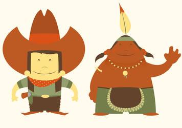 cowboy n indian by Pixelflakes