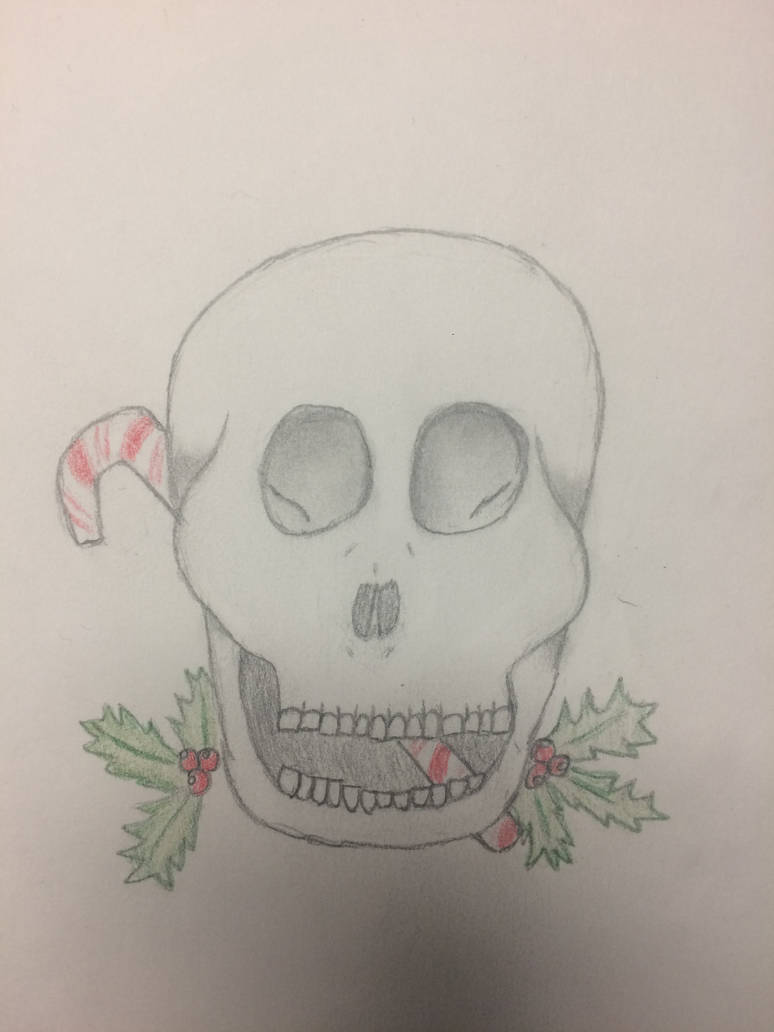 Christmas skull by paigesugarbutts