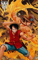 Luffy Ace by wizyakuza