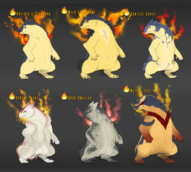 [Personal] Typhlosion variations v2 by Aliena-Cordis