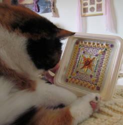 Rascal likes my embroidery by joyrascal