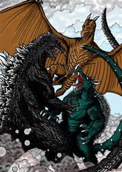 Godzilla Rodan Anguirus by kaijuverse