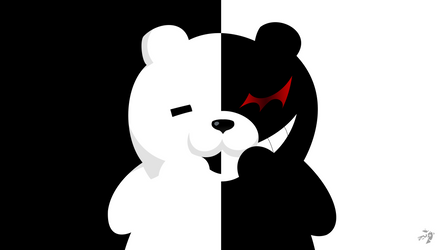 Monokuma (Danganronpa) Minimalist Anime Wallpaper by Lucifer012