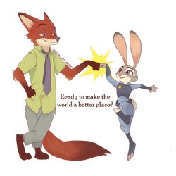 Judy and Nick Brofist - Zootropolis by ChocoHal