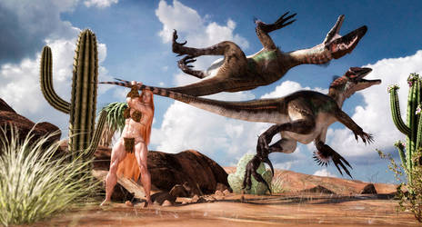 Kira vs desert raptors by Superstrongbabes