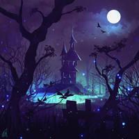 daily speedpaint 90 - haunted house by DaisanART