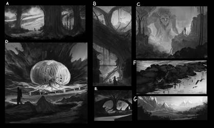 Thumbnails sketches - WHICH ONE SHOULD I FINISH? by DaisanART