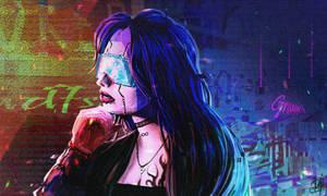 Cyberpunk female portrait sketch by DaisanART