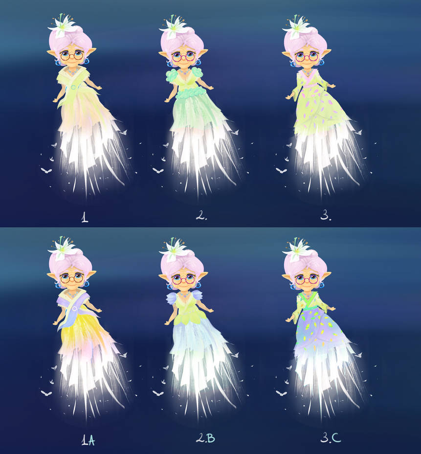 Feedback Request - Dress Concepts - Which one? by DaisanART