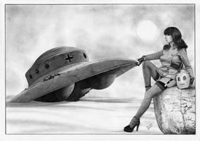 Betty Rocketeer Page and Nazi UFO by TimGrayson
