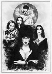 Elvira Morticia Vampira Frankenstein Bride by TimGrayson