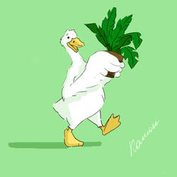 goose with a plant by GooseupII