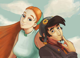 Rufus and Goal (Deponia) by GooseupII