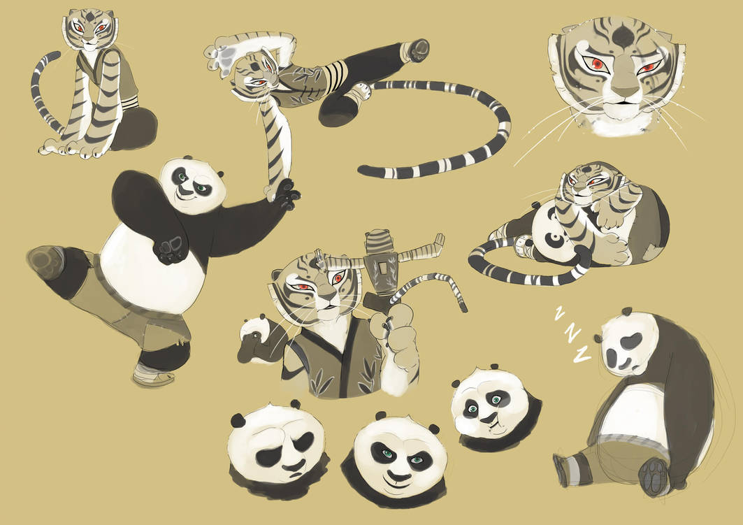 Po and Tigress sketch by kyomitsu