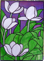 stained glass tulips by sandevolver